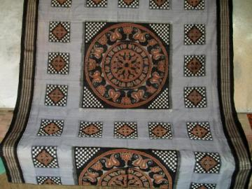 Odisha Handloom traditional Wheel motif Ikat Saree Sari