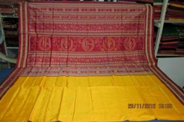Odisha Handloom Beautiful Yellow-Maroon Ikat Aanchal Saree Sari