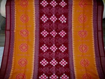 Traditional Flower Motifs Ikat Work Saree