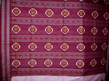 Beautiful Pink Maroon Ikat Saree Sari