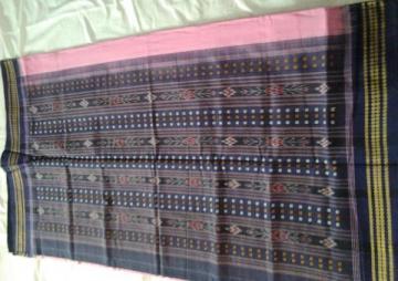 Ikat work cotton saree without blouse piece
