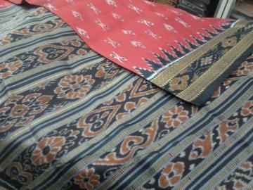 Orissa Handloom Maroon - Black Khandua Ikat design Saree Sari