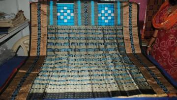 Odishi Handloom Bichitrapuri Copper Sulphate-Black Saree