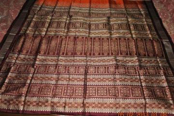 Orissa Handloom Rust Maroon Bomkai Saree