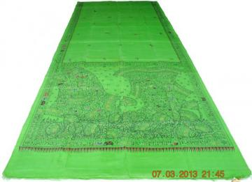 Green color fish design Silk Saree