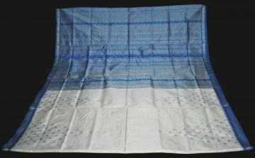 Orissa Handloom Beautiful White n Blue Fish Motiff Saree Sari
