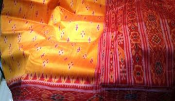 Yellow red Body and aanchal ikat work Saree
