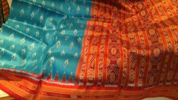 Teal n Red ikat work Khandua saree