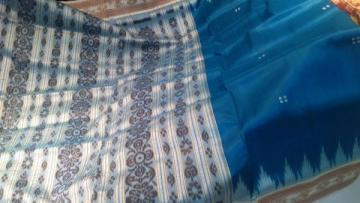 Beautiful Blue n White Ikat work saree