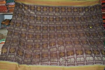 Full body Elephant Motif Ikat saree with Blouse Piece