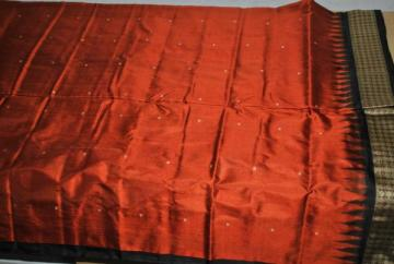 Odisha Handloom Patli Bomkai Saree in Rust and Black