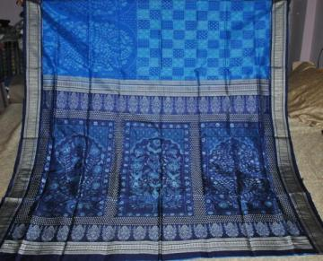 Gorgeous Blue Tree design Ikat Saree Sari