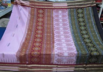 Odisha Handloom Pink Cotton Saree with Blouse Piece