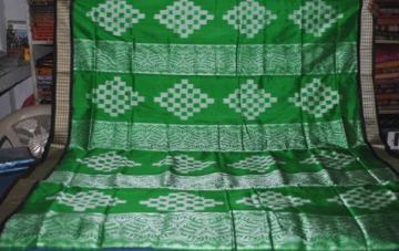 Beautiful Green n Black Ikat squares n Bomkai work Saree