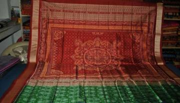 Green Maroon all over Ikat work Odisha Handloom Saree
