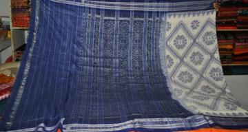 White Blue Ikat Saree without Blouse piece