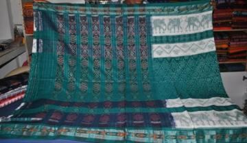 White Green Elephant motif Ikat Saree without Blouse Piece