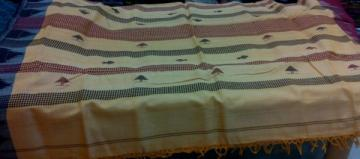 Light Yellow fine cotton and tassar Mix Fish Motif Ganga Jamuna Border Kotpad Saree