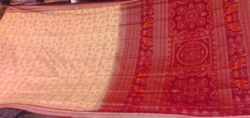 Unique Piece All over Ikat work Tribal Body and Traditional Aanchal Saree Sari