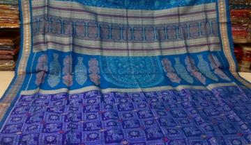 Gorgeous Blue Color Animal Motiff Body with Ikat n Bomkai Aanchal Saree