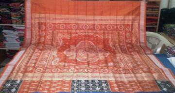 Rust-Black Pasapalli Ikat work beautiful Saree