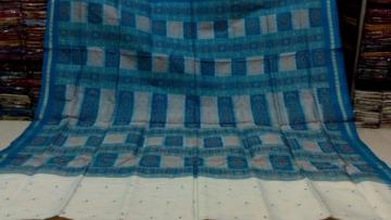 White n Blue Gorgeous Box type Bomkai Saree