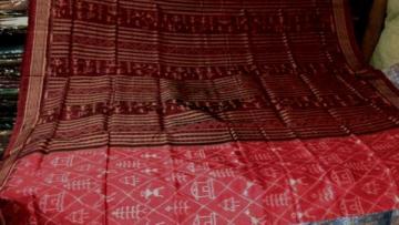Beautiful Red color Tribal design Ikat Silk Saree