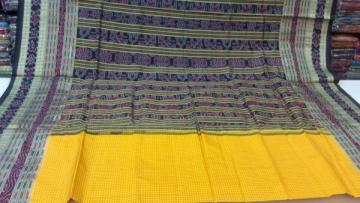 Yellow n Black Body Stripeswith Traditional aanchal Silk Saree With Blouse Piece