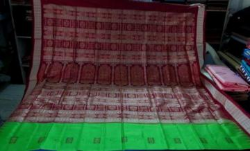 Beautiful Green Maroon Bomkai Saree