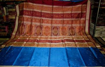 Gorgeous Blue Box Border Bomkai and Ikar border Odisha Handloom Saree