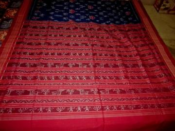 Tribal Design blue maroon ikat Saree in Cotton with Blouse pIece