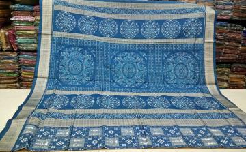Tribal and Pasapalli blue Saree with beautiful Ikat Aanchal