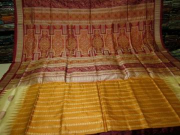 Full Body and Aanchal Bomkai work Odisha Handloom SIlk Saree