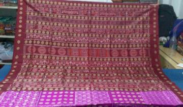 Designer Bomkai and ikat Combination Silk Saree With Blouse Piece