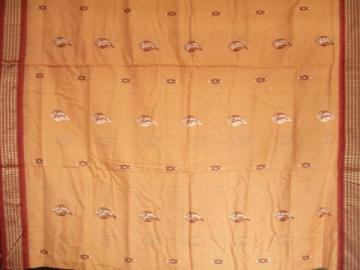 Shell Motiff Bomkai Cotton Saree With Blouse Piece