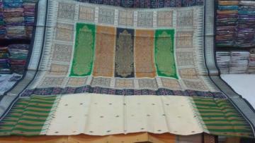 Beautiful Multicolored Bomkai And Ikat Work Silk Saree With Blouse Piece