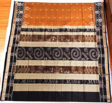 Odishi Handloom Ikat Tribal-Design Saree with pasapalli Border