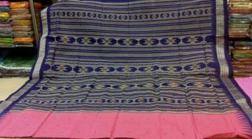 Pink n Blue Traditional Bomkai Saree With Blouse Piece
