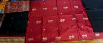Doll Motif Unstitched Silk Salwar Suit With Dupatta