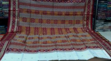 Pasapalli Border Bomkai Aanchal White Silk Saree with Blouse Piece