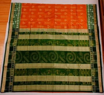 Odishi Handloom Ikat Tribal Design Saree with green pasapalli Border