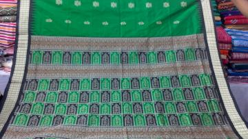 Green Black Beautiful Tribal work in Bomkai Silk Saree with Blouse Piece