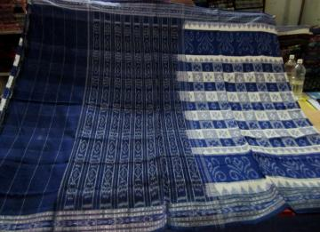 White and Blue all over Body Ikat Cotton saree without Blouse Piece