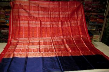 Orissa Handloom Blue n Red Bomkai Saree in Silk with Blouse Piece