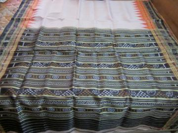 Traditional Double Border Body Stripes Orissa Handloom Saree without Blouse Piece