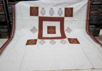 Gorgeous White and Brown Bomkai Silk Saree with Blouse Piece