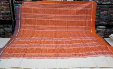 Ganga Jamuna Borders in Orange n Blue Silk Saree in White