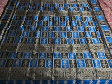 Peacock Blue doll Border n Aanchal Silk Saree with Blouse Piece