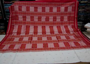 White n Red Bomkai Silk Saree