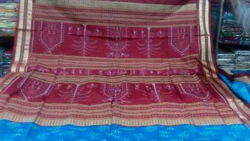 Gorgeous Blue and Maroon Tribal Ikat work Saree In Silk with Blouse Piece